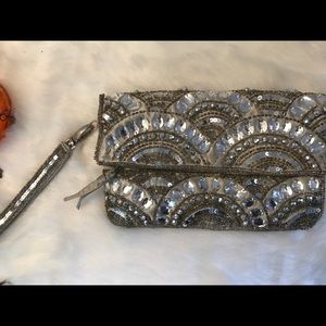 Aldo crystal folded evening wristlet